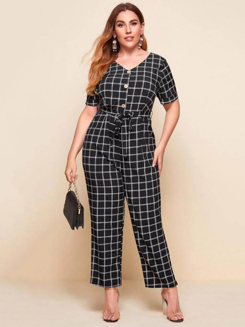plus size belted checked jumpsuit